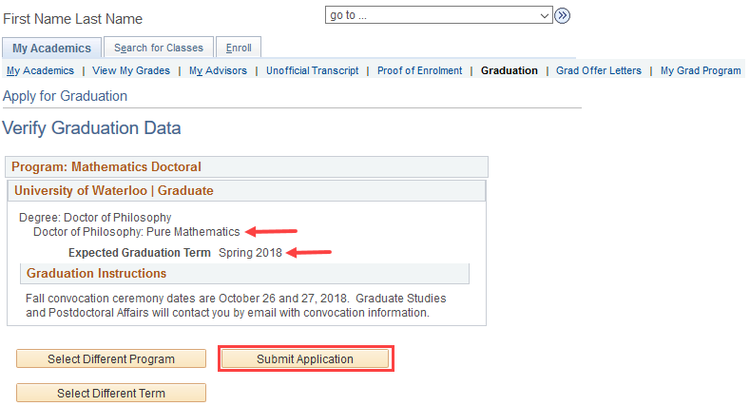 image of verify graduation date in quest