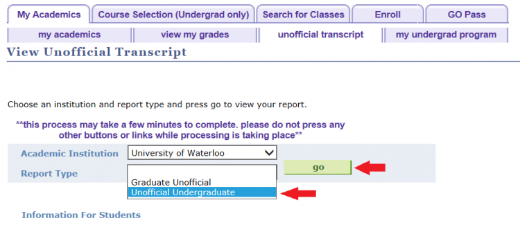 how to download unofficial transcript waterloo