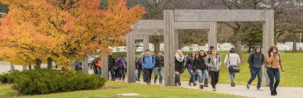 Image of students walking onto campus in the fall