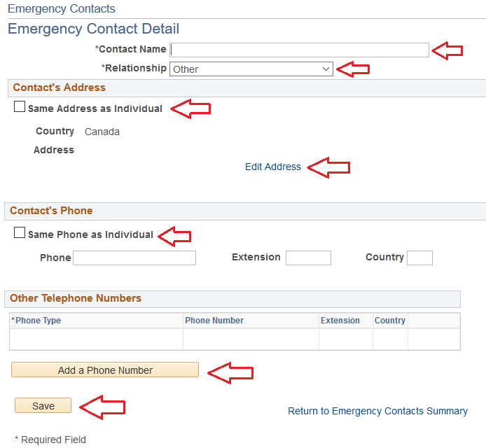 emergency contacts page with arrows pointing to contact name, relationship, same address as individual box, same phone as individual box, add a phone number button, and save button
