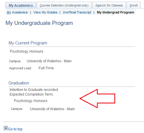 Undergradaute program details in student Quest