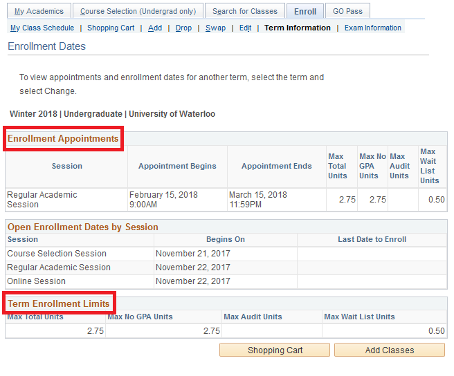 sample enrollment appointments and maximum units circled