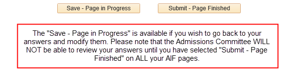 Save and submit buttons on AIF page in applicant Quest