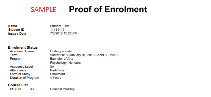 image of sample proof of enrolment report