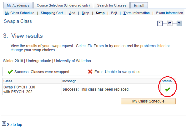 Class swap view results page in student Quest