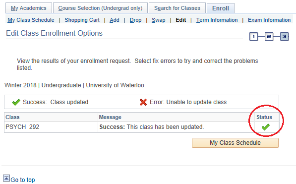 Compinent swap confirmation page in student Quest