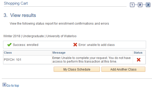 Add class error message in student Quest
