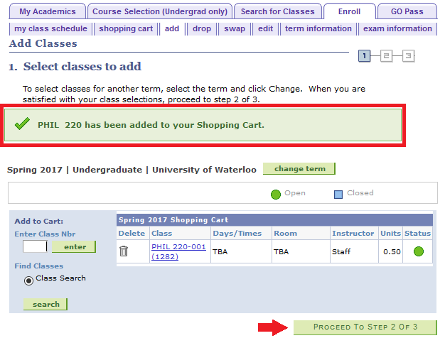 add tab select classes to add confirmation page with arrow pointing to proceed to step 2 of 3 button