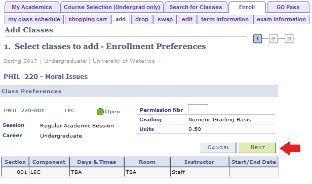 add tab select classes to add with sample PHIL 220 course with arrow pointing to next button