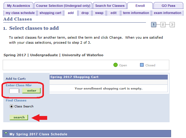 select classes to add class search platform with class nbr search and enter button circled and with arrow poiting to search button