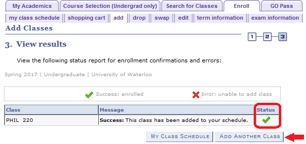 add tab view results with sample PHIL 220 course with status circled and arrow pointing to add another class button