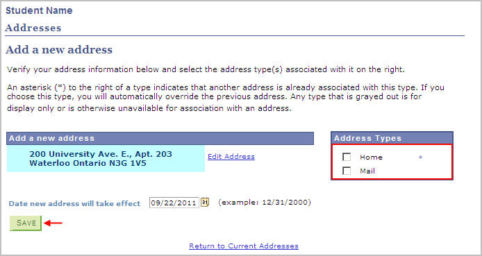 example add a new adress page with address types selection box and arrow pointing to save button
