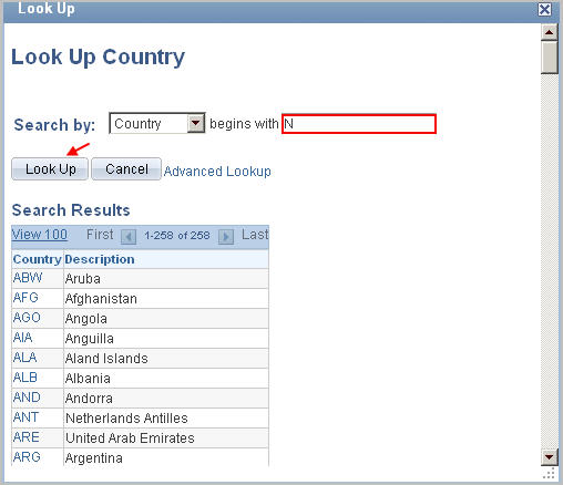 "example look up country menu with search criteria search by ""country"" begins with ""N and arrow pointing to look up button"
