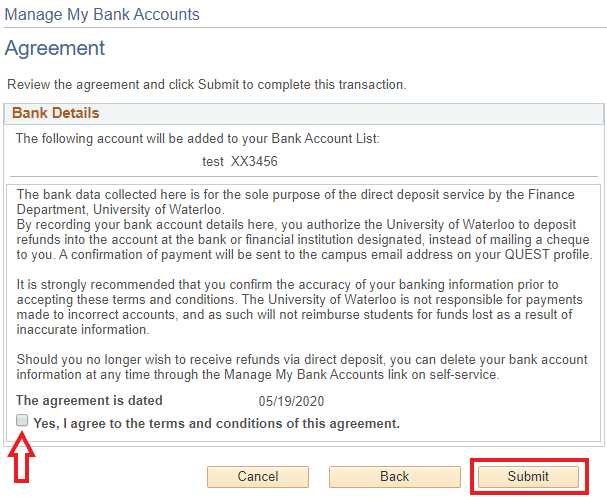 Image of bank account agreement page in Quest withsubmit button highlighted
