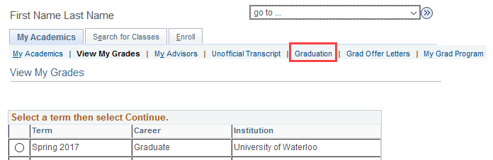 image of graduation tab in quest - my academics