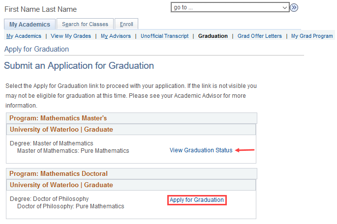 image of apply tfor graduation page in quest