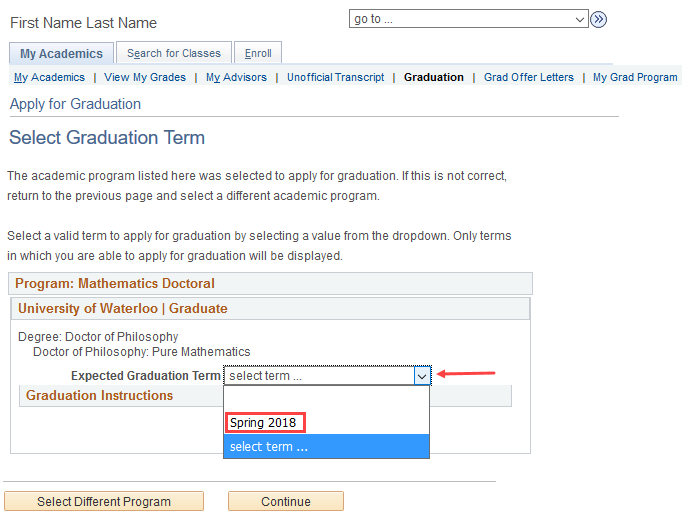 image of select graduation term page in quest