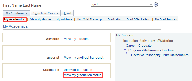 image of view my graduation status link in quest