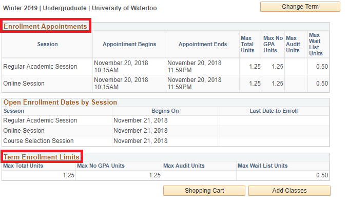 Screenshot of appointments