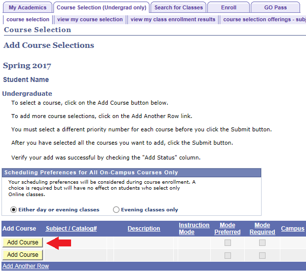 course selection tab add course selections displayed with arrow pointing to add course button