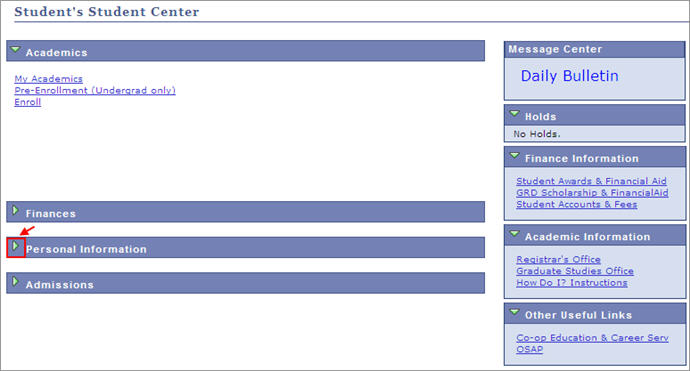 student's student center personal information tab