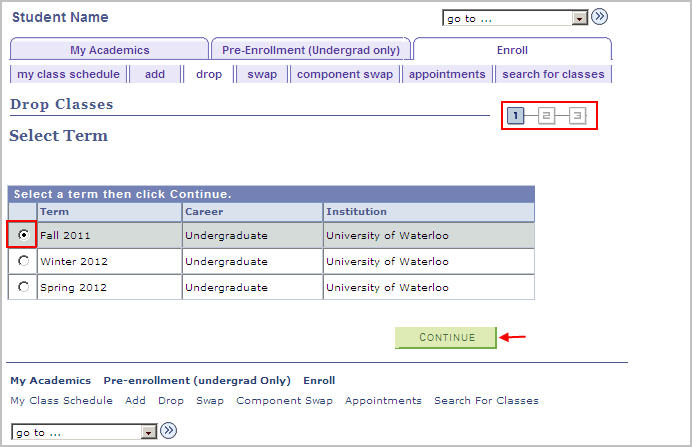 drop classes term selection step 1/3 with example term fall 2011