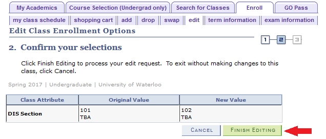 edit class enrollment selection confirmation with arrow pointing to finish editing button