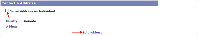 emergency contact's address with arrow pointing to same address as individual checkbox and edit address link