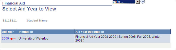 finacial aid select aid year to view with arrow pointing to 2009
