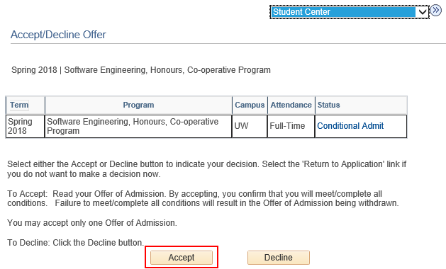 how do i accept  or decline  my offer of admission