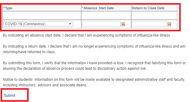 Illness table with values to be entered and submit button highlighted