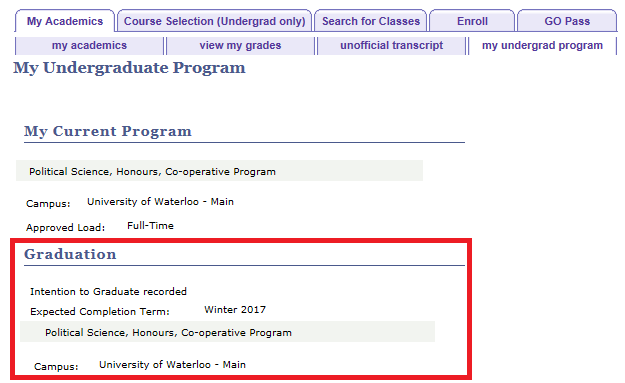 my undergrad program tab displaying dample current program and intent to grad info