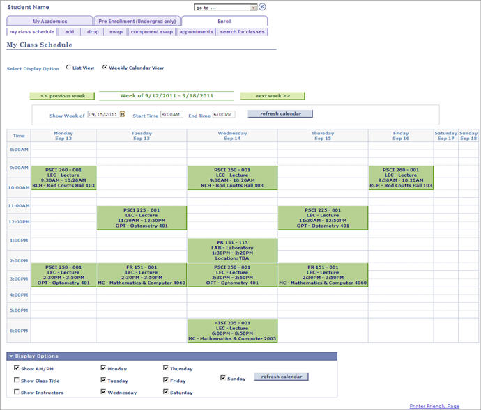 example weekly calendar view of courses