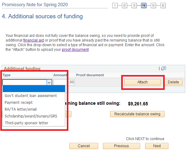 Additional sources of funding - with type and attach buttons highlighted