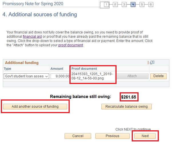 additional source funding page with document attached and remaining balance to cover