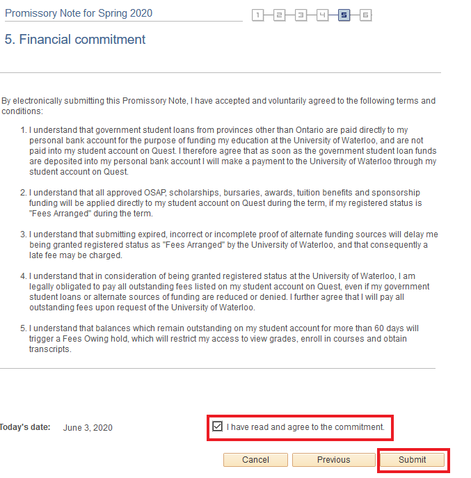 Financial commitment information and agreement