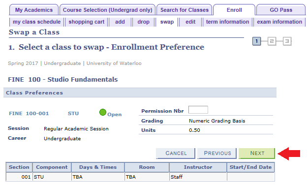 enroll swap tab with sample enrollment preference displayed for FINE 100 wirth arrow pointing to next button