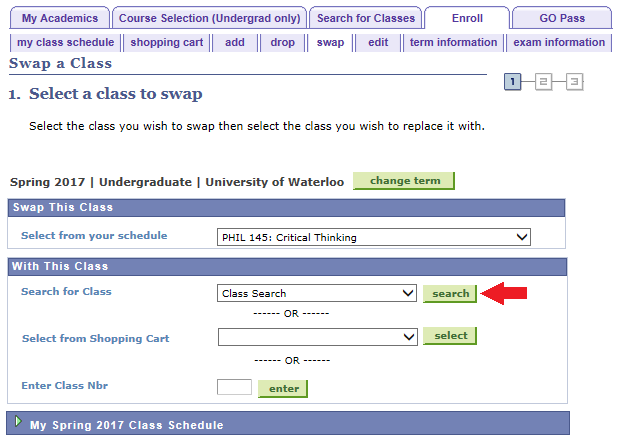 select a class to swap with arrow pointing to search button