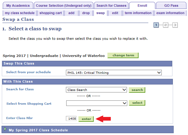 select a class to swap by entering class number in blank field example class selection