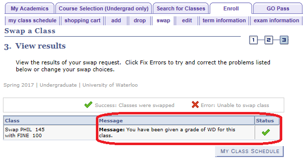 enroll swap tab view results of swap with sample success message displayed