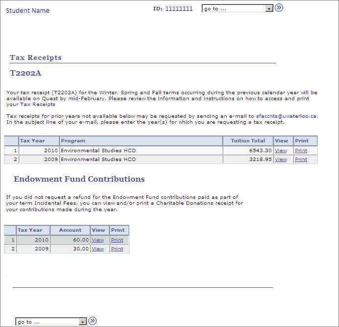 tax receipts T2202A