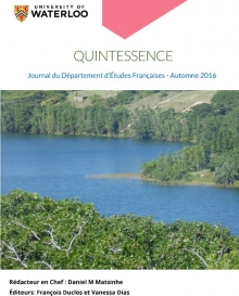 Quintessence cover, picture of river, fall 2016