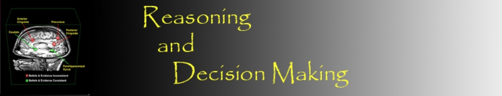 A logo of reasoning and decision making group showing FMRI scan