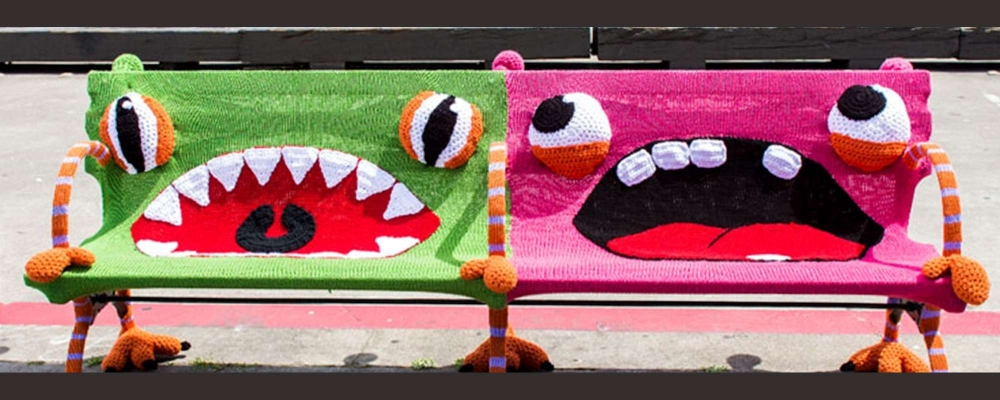 Yarn bombing on public benches