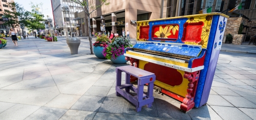 colourful piano on street