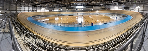Milton velodrome wooden cycling track.