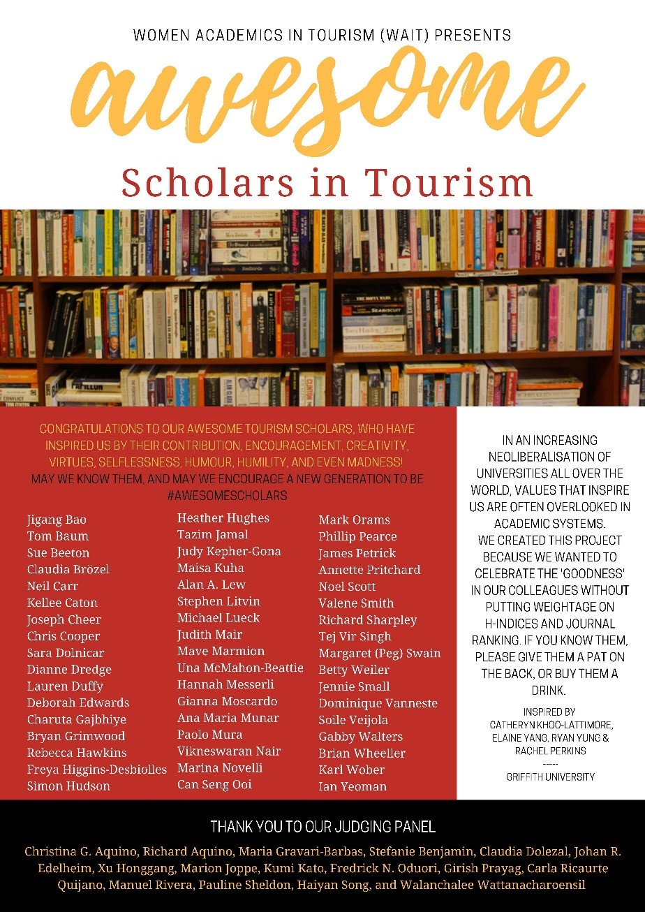Poster of all the names of who was awarded the Most Awesome Scholar in Tourism Award
