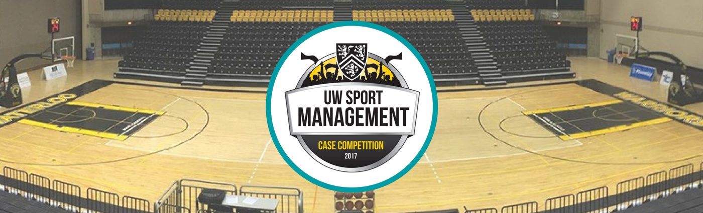 Case Competition Logo over image of PAC gym