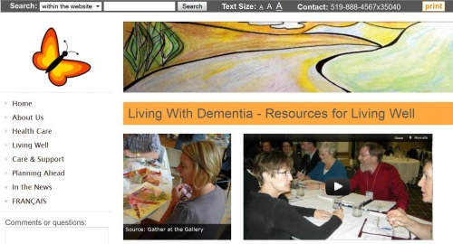 Living with dementia website screenshot.