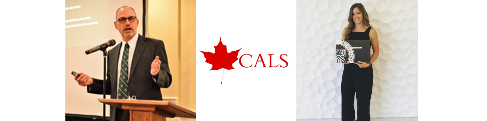 CALS red maple leaf logo above a photo of Mark Havitz presenting at a podium and a photo of Jaylyn Leighton holding her degree